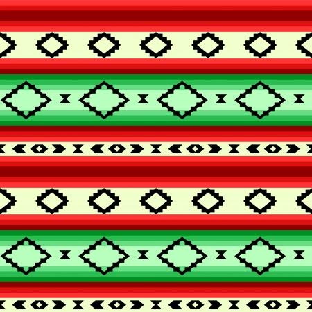 緑と赤、ベクトルでメキシコの毛布幾何学的なストライプのシームレスなパターン  イラスト・ベクター素材
