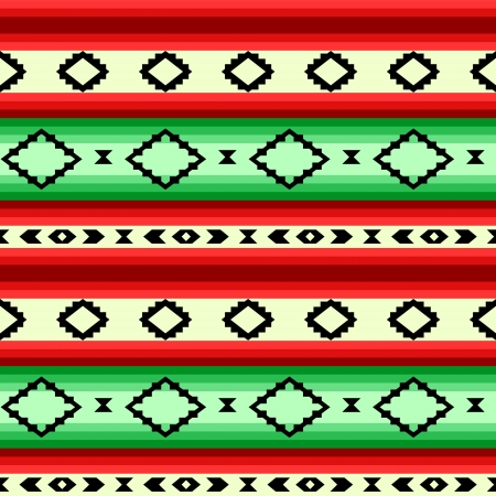 Mexican blanket geometric striped seamless pattern in green and red, vector Vector