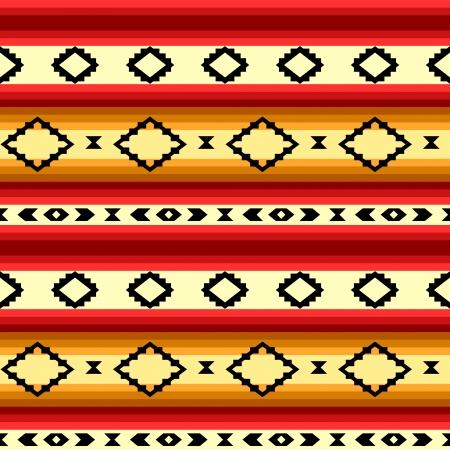 黄色と赤、ベクトルでメキシコの毛布幾何学的なストライプのシームレスなパターン