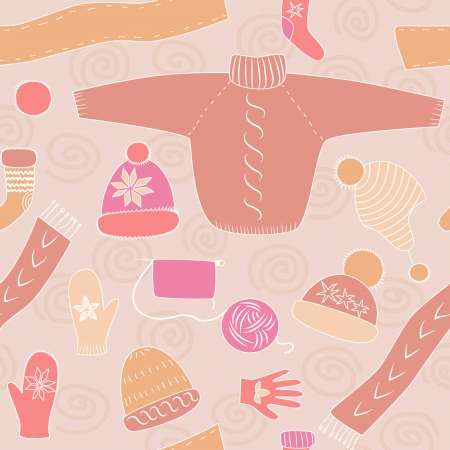 Colorful pink winter knitwear seamless pattern, vector Vector