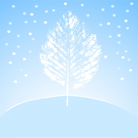 snow drifts: Lonely white winter tree on the hill in blue and white, vector illustration Illustration