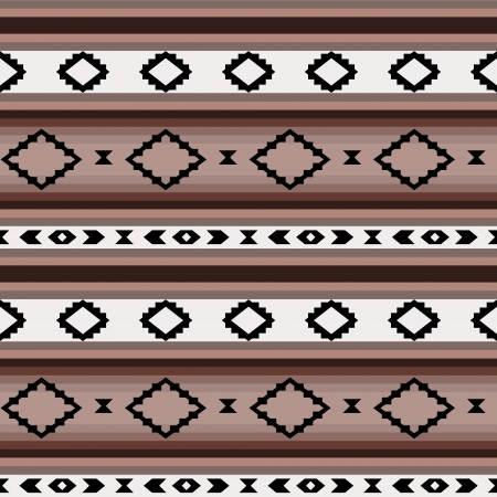 Striped mexican blanket in shades of brown seamless pattern, vector Vector