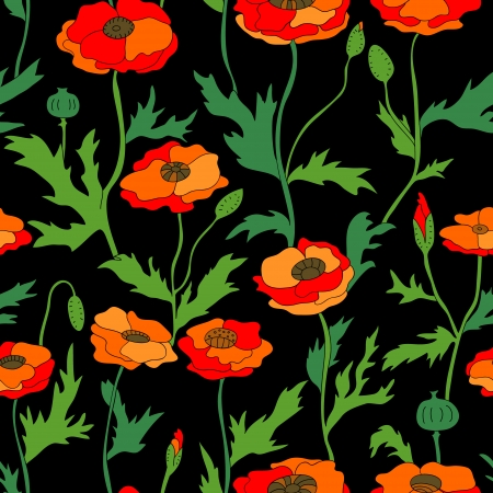 Colorful poppy flowers on black seamless pattern, vector Vector