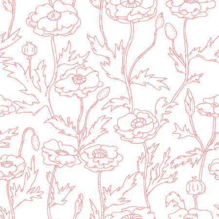 Poppy flowers in red and white seamless pattern, vector Vector