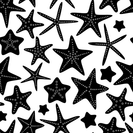Black and white starfish seamless pattern, vector Vettoriali