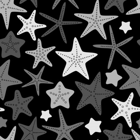star of life: Black white and gray starfish seamless pattern, vector