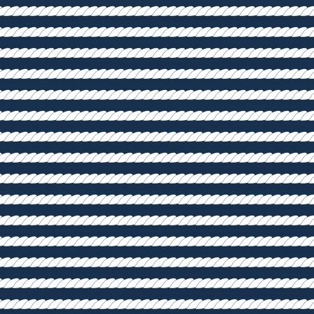 暗い青のシームレスなパターンの上の白い海軍ロープ ストライプ ベクトルします。