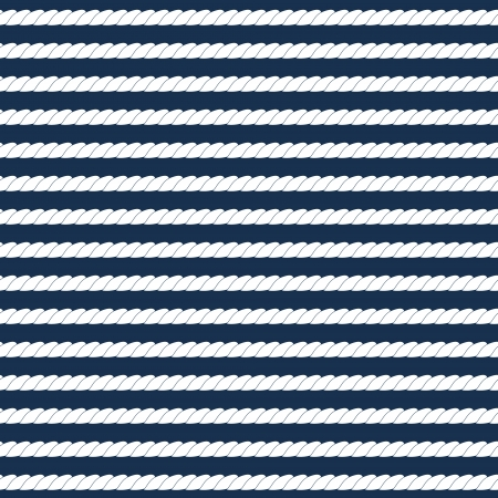 White navy rope stripes on dark blue seamless pattern, vector