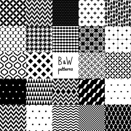 抽象的な黒と白 20 4 さまざまなシームレス パターン セット、ベクトル