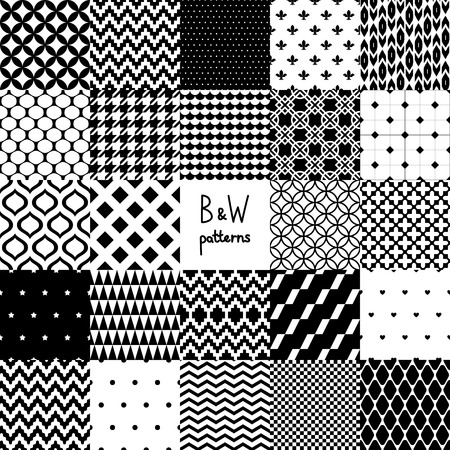 scallop: Abstract black and white twenty four various seamless patterns set, vector