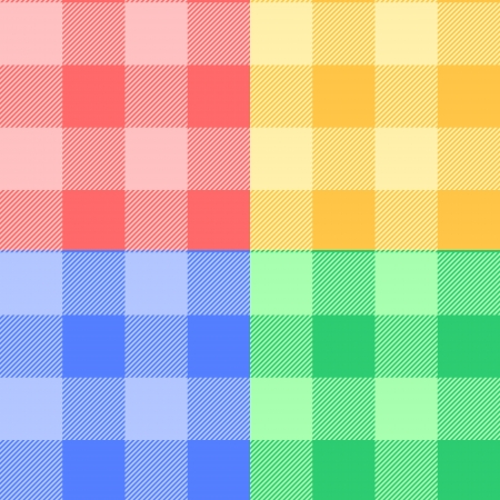 Gingham checkered fabric in pastel colors seamless pattern set, vector Vettoriali