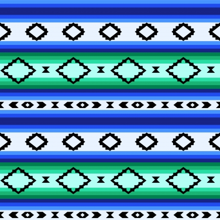 serape: Striped mexican blanket seamless pattern in blue and green, vector Illustration