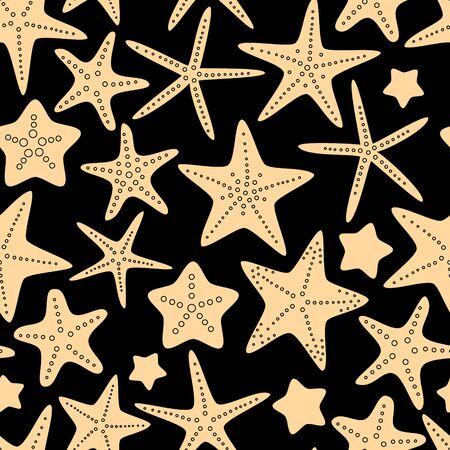 Beige starfish on black seamless pattern, vector Vector