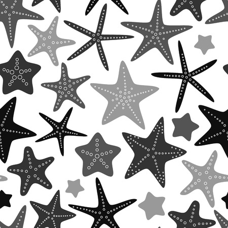 Gray starfish on white seamless pattern, vector Vector