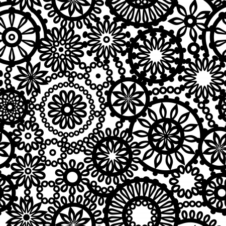 Black and white abstract lace seamless pattern, vector Vector