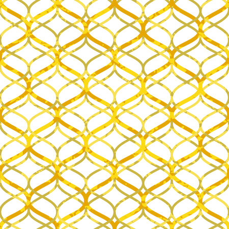 Abstract golden lattice on white grunge seamless pattern, vector Vector