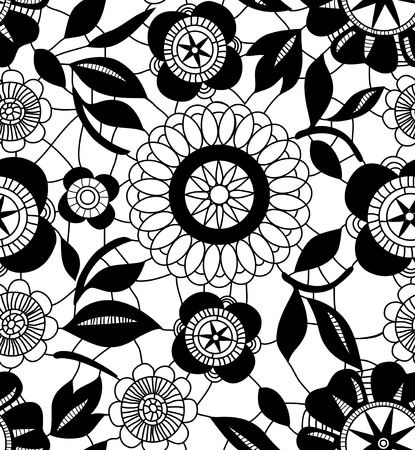 Black lace crochet flowers on white seamless pattern, vector Vector