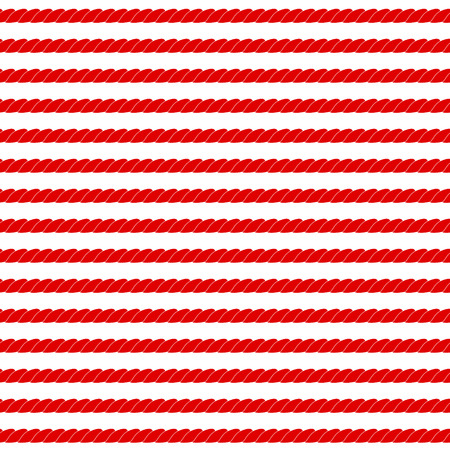 nautical pattern: Navy rope stripes in red and white seamless pattern, vector Illustration