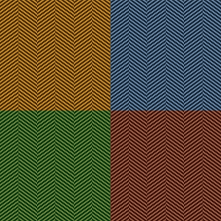 blanket fish: Herringbone stripe seamless pattern set in brown, blue and green, vector