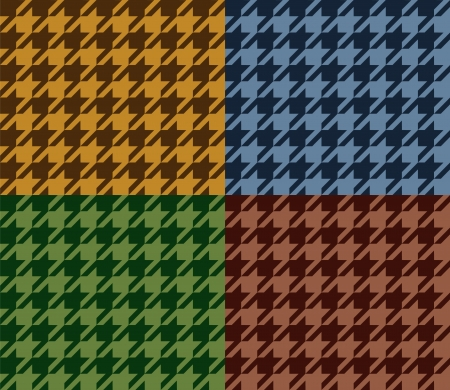 Houndstooth geometric plaid seamless pattern set in brown, blue and green, vector Vector