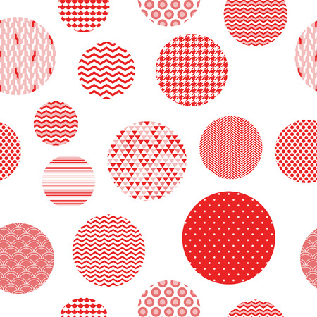 Red and white patterned circles geometric seamless pattern, vector