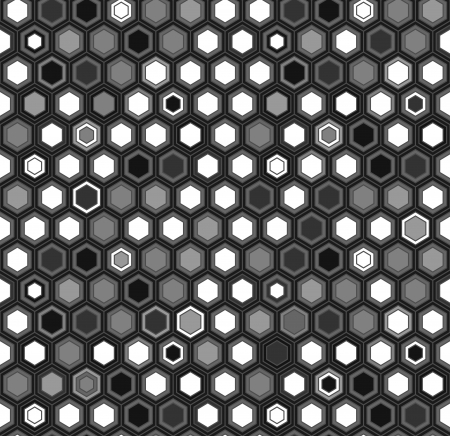 hex: Black and white hexagon honeycomb geometric seamless pattern, vector