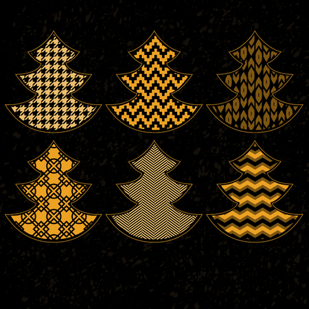 Golden patterned christmas trees on black collection, vector