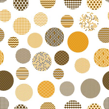 黄金と白のパターンの円の幾何学的なシームレスなパターン、ベクトル  イラスト・ベクター素材
