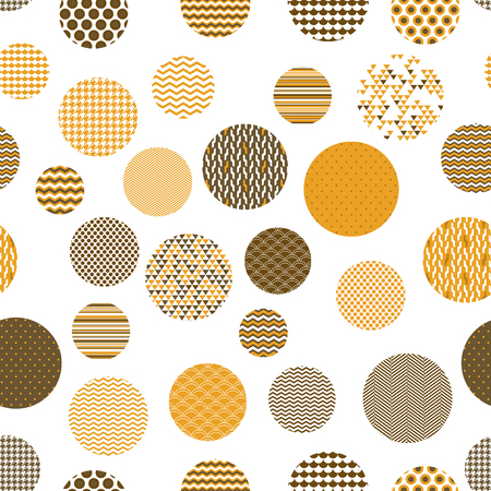 mosaic tiles: Golden and white patterned circles geometric seamless pattern, vector