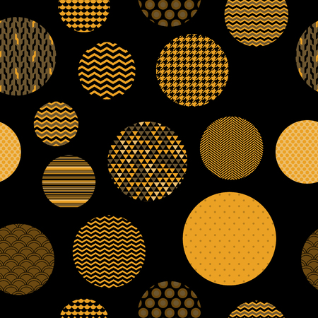 Golden and black patterned circles geometric seamless pattern  Vector