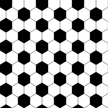 Black and white hexagon soccer ball seamless pattern, vector Ilustração