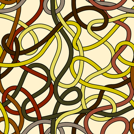 Messy tangled wires seamless pattern in yellow and brown, vector Vector