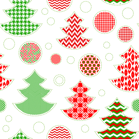Patterned christmas trees and balls seamless pattern in red green and white, vector Vector