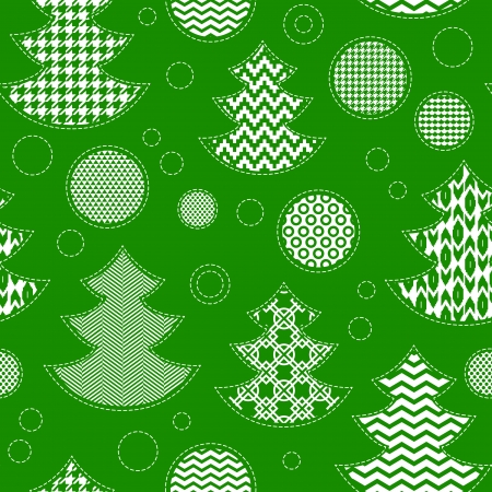 Patterned christmas trees and balls seamless pattern in green and white, vector Vector