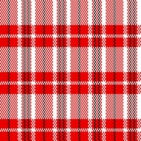 Chinese plastic woven checkered bag seamless pattern in red black and white, vector Vector