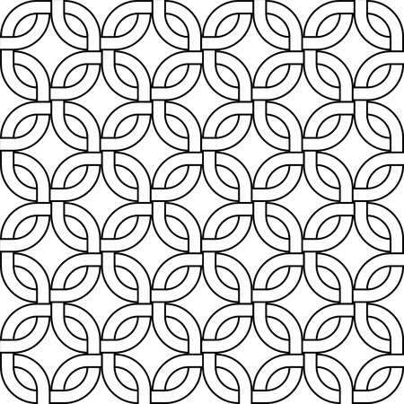Abstract geometric woven squares seamless pattern in black and white, vector Vector