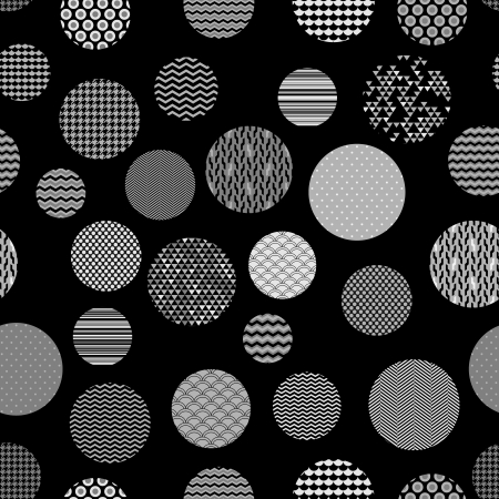 Black and white patterned circles geometric seamless pattern, vector Vector