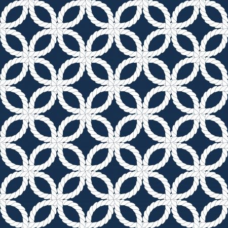 青と白のベクトルの幾何学的な編まれた海軍ロープ シームレス パターン  イラスト・ベクター素材