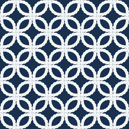 Geometric woven navy rope seamless pattern in blue and white, vector
