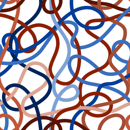 Blue and brown tangled messy wires or yarn seamless pattern on white, vector Vector