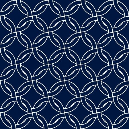 azul marino: Círculos abstracta geométrica tejidas patrón transparente en azul marino y blanco, vector