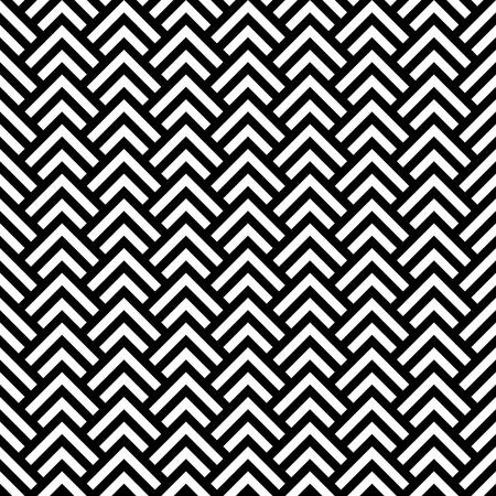 黒と白のシェブロンの幾何学的なシームレス パターン、ベクトル