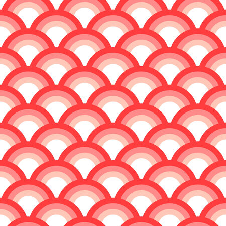 Delicate asian scallop seamless pattern pink and white, vector Vector