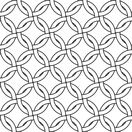 Black and white abstract geometric woven circles seamless pattern, vector Illustration
