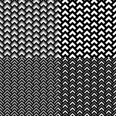 overlapped: Black and white geometric overlapped squares seamless pattern set, vector