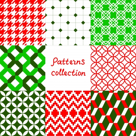 christmas wrapping: Red green and white geometric seamless patterns collection, vector