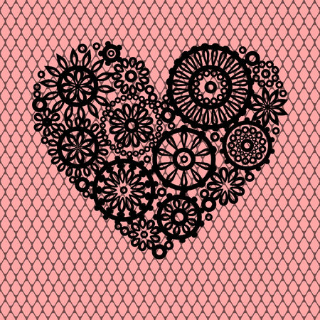 Black crochet lace flowers heart on pink mesh romantic greeting card, vector background Vector