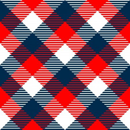 파란색, 흰색, 빨간색, 벡터 체크 무늬 깅엄 직물 원활한 패턴