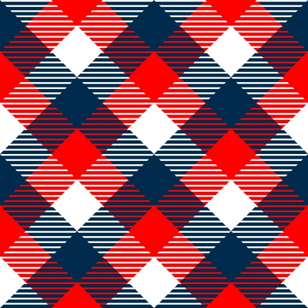 Checkered gingham fabric seamless pattern in blue white and red, vector Vettoriali