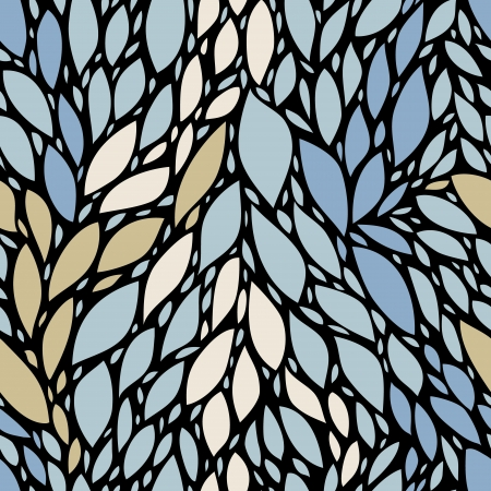Blue and beige leaves on black nature seamless pattern, vector Vector